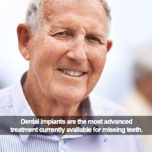 Senior man with dental implants