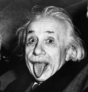 Einstein sticking his tongue out
