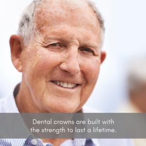 Senior man smiling with natural looking dental crowns.