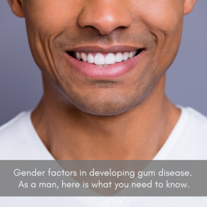 Gum disease: Close up of a man's teeth and gums.