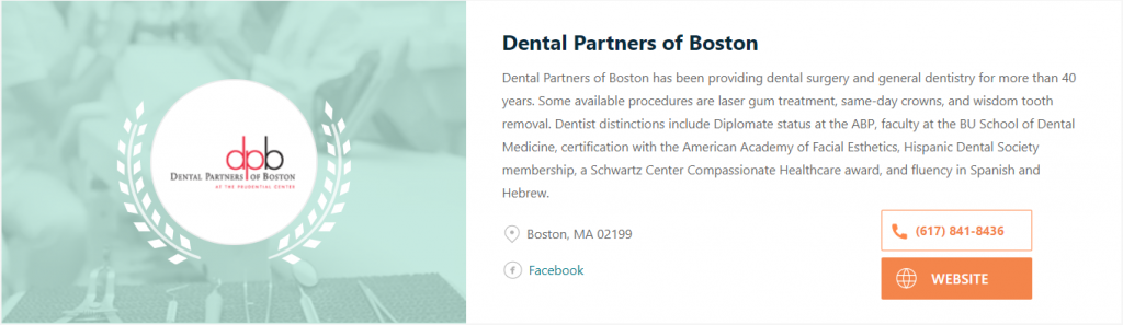 Awarded one of the Best Dentist in Boston for 2020 by Expertise.com