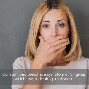 Woman covering her mouth due to periodontal disease.