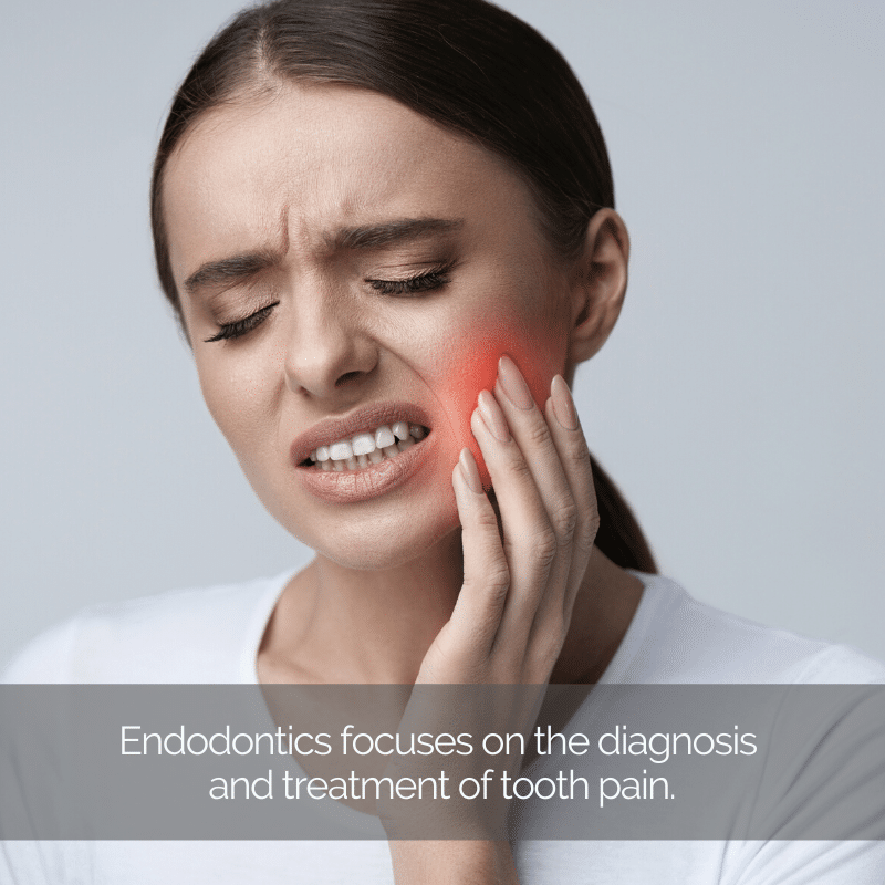 An endodontist can help this woman holding her cheek in pain.