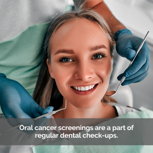 A woman in a dental chair gets oral cancer screening.