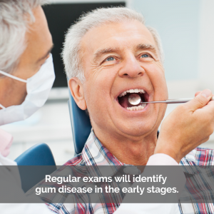 Elderly man gets a dental exam to check for gum disease.