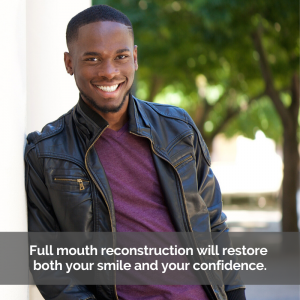A man smiles after full mouth reconstruction.