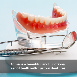 Dentures with dental tools. Caption: Achieve a beautiful and functional set of teeth with custom dentures.