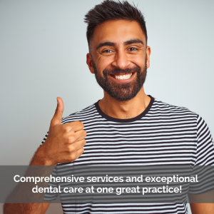 A man gives the thumbs up a great dental care.