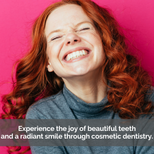 a women with a cosmetically beautiful smile.
