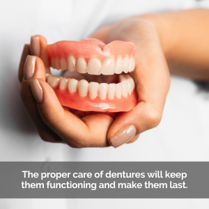 Caption: The proper care of dentures will keep them functioning and make them last.