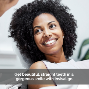Caption: Get beautiful, straight teeth in a gorgeous smile with Invisalign.