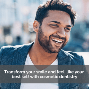 Man smiling after cosmetic dentistry work
